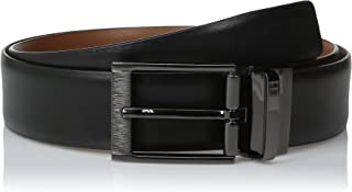 Perry Ellis Portfolio Men's Feather Edge Etched Buckle Soft Touch Belt