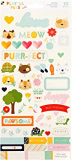 DCWVE Die Cuts with A View Sticker Playful Pet-6 x 12-Cats-Iridescent Glitter (111 pcs) 615095, Multi