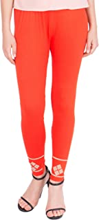 American-Elm Women's Stylish Ankle length Legging- Dark Orange