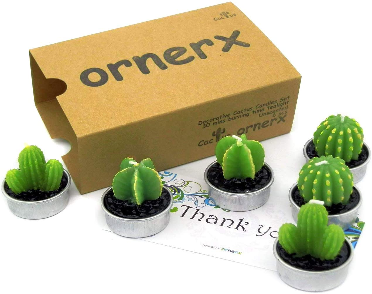 Ornerx Cute Cactus TeaLights Fresno Mall 6 Translated PCS Decorative Candles Succulent