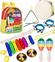 Toddler Musical Instruments Toys - Smarkids Percussion Instruments Toy Preschool Educational Musical Toys Set for Boys and Girls Including Xylophone Flute Tambourine Maracas with Backpack