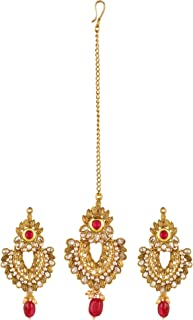 Efulgenz Indian Bollywood Ethnic Gold Plated Mang Tikka Head Piece Earrings Bridal Wedding Jewelry Set