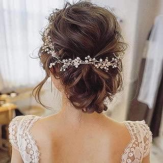 Catery Bride Wedding Headband Rose Gold Pearl Hair Vine Braid Headpieces Bead Bridal Hair Accessories for Women(Rose Gold)