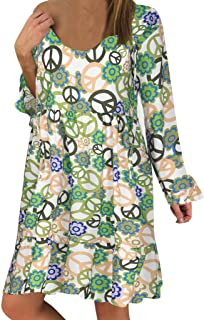 Sceoyche Women's Ladies Plus Size Loose Print Long Sleeve O-neck Mini Long Dress