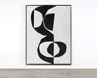 Peinture À L'Huile Peinte À La Main Sur Toile,Paysage Minimaliste Moderne Abstraction Art Noir Et Blanc Dessiné À La Main ...