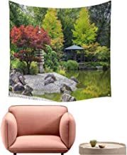 alsohome Tapestry for Wall Art Tapestry for Bedroom Red Tree Near The Green Pond in Japanese Garden in Bonn,Germany 63