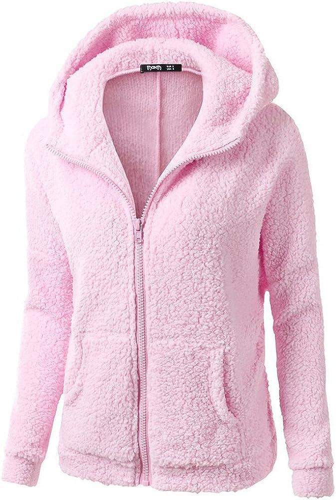 Kaitobe Women's Casual Winter Warm Sherpa Lined Zip Up Hooded Wool Sweatshirt Jacket Coat Outwear Hoodies Pullover