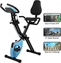 ANCHEER 2 in1 Folding Exercise Bike, Indoor Stationary Bike with 10-Level Adjustable Magnetic Resistance and Arm Training Bands