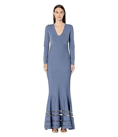 Zac Posen Long Sleeve Deep V Dress (Olympian Blue) Women