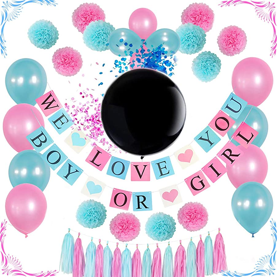 Gender reveal party supplies kit / 36