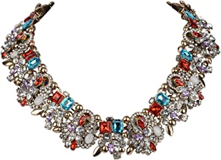 Vintage Style Art Deco Statement Necklace Austrian Crystal Gold-Tone