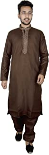 Mens Indian soft Cotton Brown kurta matching Salwar kameez pajama Bollywood 819