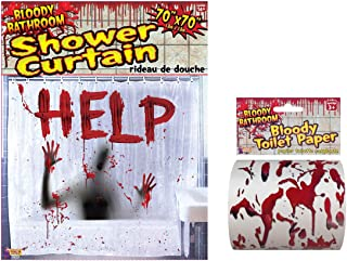 Elm Hill Bathroom Halloween Decor Set- Bloody Shower Curtain and Bloody Toilet Paper