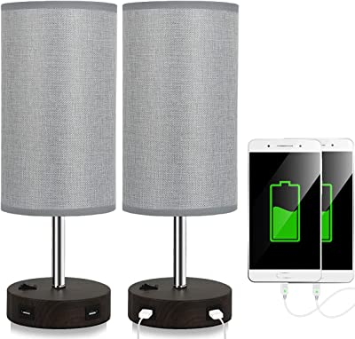 USB Bedside Table Lamp, Bedside Table Lamp with Dual USB Charging Port, Elegant Modern Bedroom Lamp, Fabric Shade & Nightstand Desk Lamp Bedside Lamp Perfect for Bedroom, Living Room or Office (Gray)