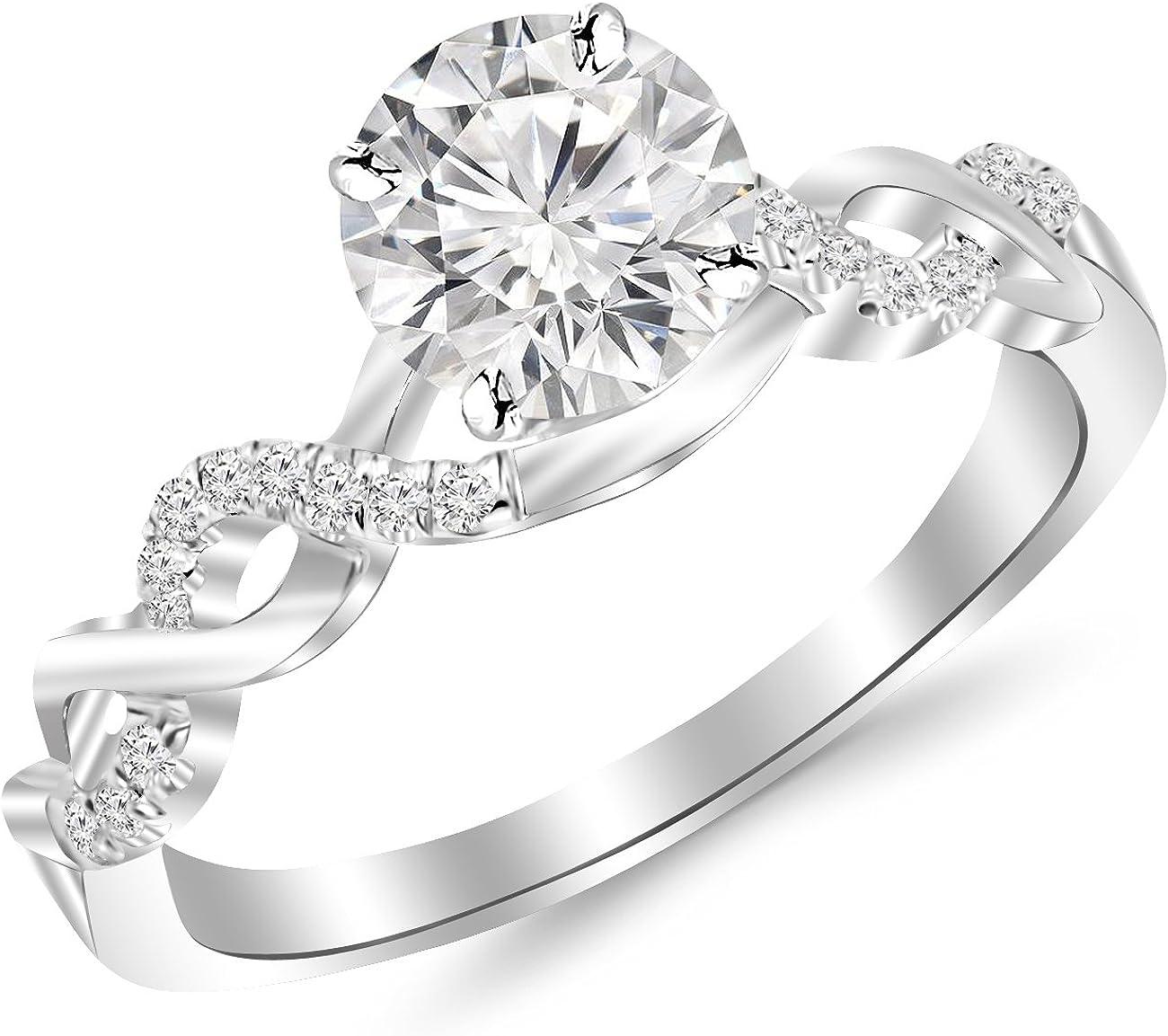 0.5 Carat Twisting Infinity Gold and Diamond Split Shank Pave Set Diamond Engagement Ring 14K Black Gold with a 0.37 Carat J-K I2 Round Brilliant Cut/Shape Center