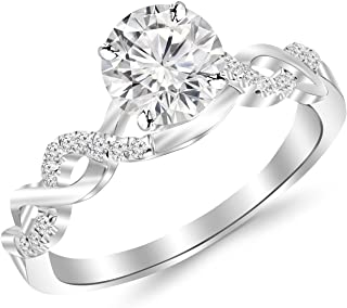 0.5 Carat Twisting Infinity Gold and Diamond Split Shank Pave Set Diamond Engagement Ring with a 0.37 Carat I-J I2 Center