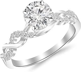 2 Carat Classic Prong Set Diamond Engagement Ring with a 1.5 Carat J-K I2 Center