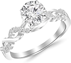 1.13 Carat Twisting Infinity Gold and Diamond Split Shank Pave Set Diamond Engagement Ring 14K White Gold with a 1 Carat J-K I2 Round Brilliant Cut/Shape Center