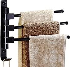 Long Leaf Towel Racks for Bathroom,Swing Out Towel Racks for Bathroom Holder Wall Mounted Towel Bars with Hooks(3-Arm Black)