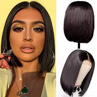 (25cm ) - Lace Front Wigs Human Hair Bob Wigs 4x 4 Lace Closure Remy Human Hair Wigs Pre Plucked Natural Colour Straight L...