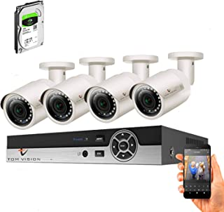 Tomvision 2K Security Camera System 4CH 2MP Video DVR with 4Pcs 2.0Megapixel Indoor Outdoor Waterproof IP66 Cameras,Home S...