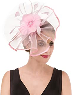 d2e82c641ca SAFERIN Fascinator Hat Feather Mesh Net Veil Party Hat Flower Derby Hat  with Clip and Hairband