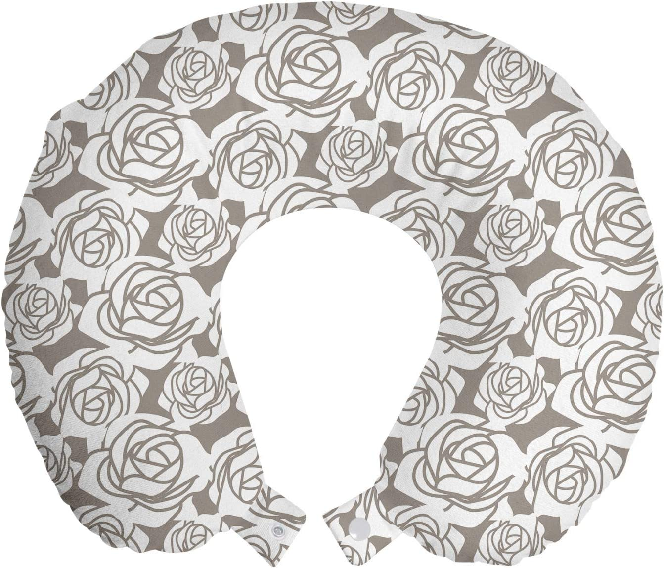 Ambesonne Ranking TOP18 Floral 2021 Travel Pillow Neck Rest Petals Rose Romantic B