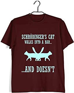 Aaramkhor Physics T-Shirt for Men | Schrodinger's Cat Walks Into a Bar | Nerd | Science | Regular Fit for Men Sizes S to 4XL|