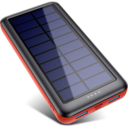 QTshine Solar Powerbank 26800mAh,Solarladegerät mit Eingängen Type C,Power Bank Externer Akku Fast Charge Tragbares Ladegerät Akkupack für Cell Phone