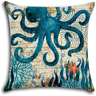 Aremazing Outdoor Beach Mediterranean Style Coastal Theme Throw Pillow Covers Cotton Linen Pillow Case Cushion Cover Home Office Decorative 18 X 18 Inches Marine Life (Octopus) (Octopus)