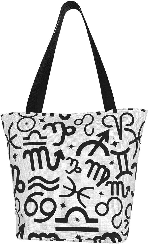 Graffiti Cancer Zodiac Constellation Charm Stars Themed Printed Women Canvas Handbag Zipper Shoulder Bag Work Booksbag Tote Purse Leisure Hobo Bag For Shopping