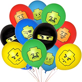 24 Pack of Colorful 12-inch Birthday Balloons for Building Brick Theme Party - DOUBLE SIDED PRINTS - NEW DESIGN, ECO-FRIEN...
