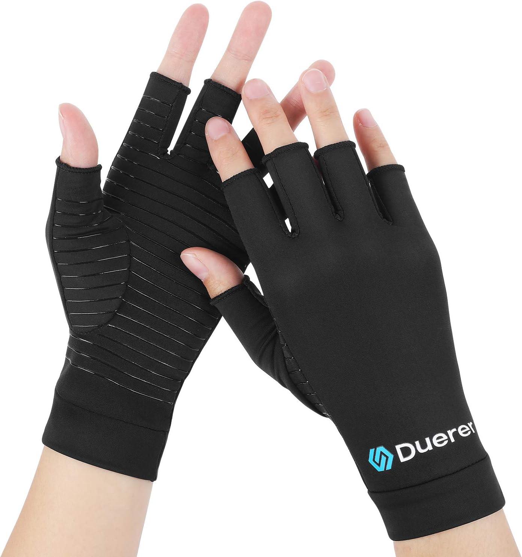 Guantes de cobre para artritis, Duerer Los mejores guantes de compresión para hombres y mujeres. Túnel carpiano RSI Guantes de compresión tendinitis reumatoide para el trabajo diario (Negro, Small)