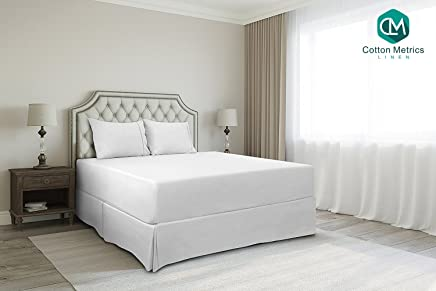 Cotton Metrics Linen Present 800TC Hotel Quality 100% Egyptian Cotton Bed Skirt 18 Drop Length King Size White Solid