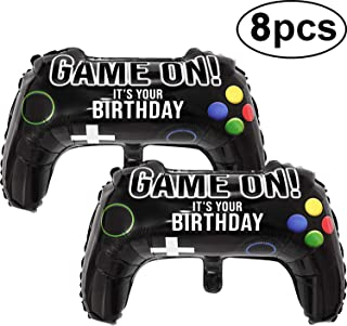 Gejoy 8 Pcs Video Game Party Balloons, 23.6 x 15.7 Inch Game on Balloons Video Game Controller Aluminum Foil Balloon for Birthday Party and Game Party Decoration