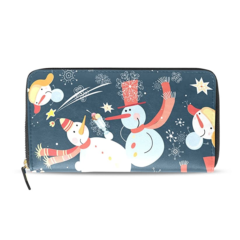 ネックレットエスニックミュートマキク(MAKIKU) 長財布 レディース 大容量 革 レザー ラウンドファスナー かわいい 雪だるま クリスマス おしゃれ カード12枚収納 プレゼント対応