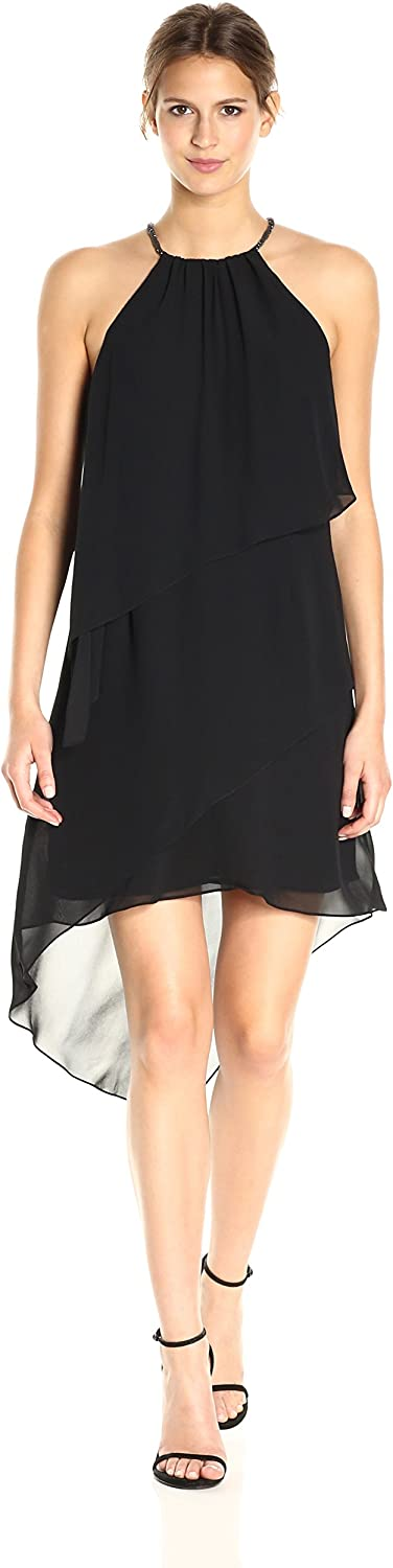 Laundry by Shelli Segal Womens Tierred Cocktail with Necklace Dress