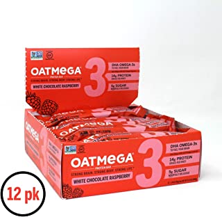 OATMEGA Protein Bars, Healthy Snacks, Gluten Free with Whey Protein & Omega 3, White Chocolate Raspberry, 12 Count per Box, 21.16 Ounce