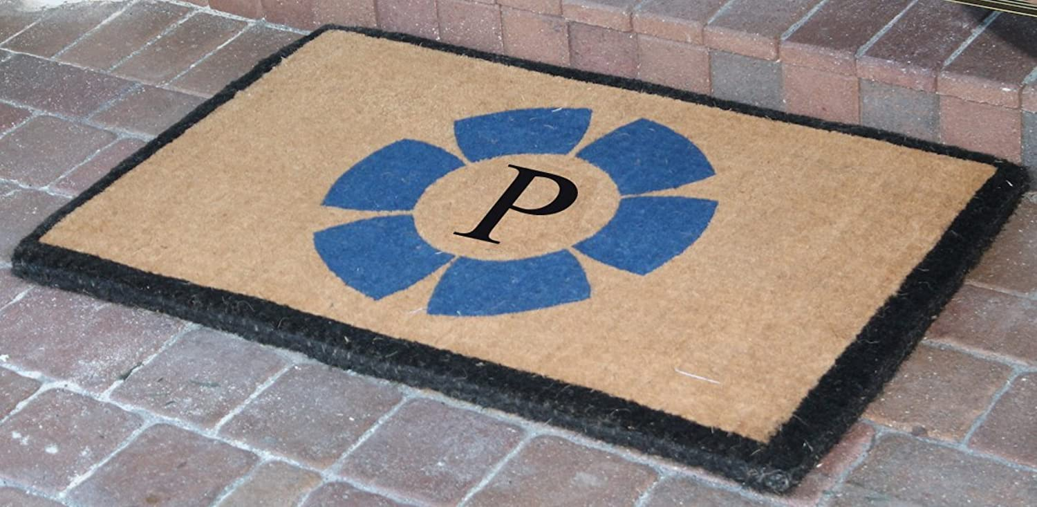 A1 HOME COLLECTIONS FM2005P First Impression Handwoven Floella Monogrammed Entry Doormat, Large, 24 x39