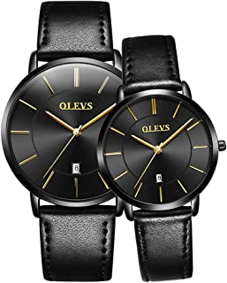 OLEVS Couples Watches for Men and Women - Ultra Thin Quartz Analog Women's and Men's Wrist Watches - Casual Stainless Steel His and Hers Wristwatch for Men Women Lovers Wedding Romantic Gifts Set of 2