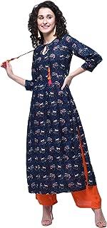 Zoeyams Womens Multicolored Rayon Printed Long Straight kurti With Rayon Palazzo