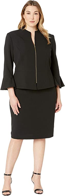 Plus Size Skirt Suit with Collarless Jacket