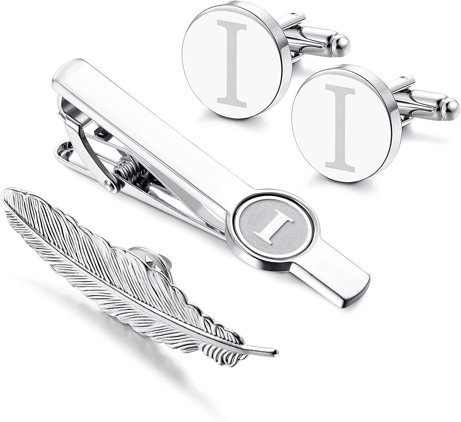 LOYALLOOK Initial Cufflinks and Tie Clip for Men Women Engraved Shirt Cufflink Alphabet A-Z Tie Bar Set for Business Wedding Gift with Box