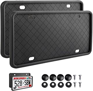 2pcs Rightcar Solutions Silicone License Plate Frame Rust-Proof Rattle-Proof Weather-Proof Car license cover Car Accessori...