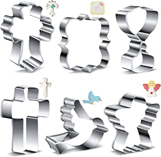 6 Pieces Christmas Cookie Cutter Stainless Steel Cookie Cutters with Folded Edges Non-Stick Cross Angel Holy Grail Pigeon ...