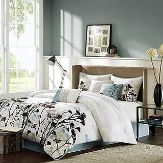 Madison Park Matilda King Size Bed Comforter Set Bed in A Bag - Blue, Ivory, Floral with 3D Velvet Flocking – 7 Pieces Bedding Sets – Ultra Soft Microfiber Bedroom Comforters