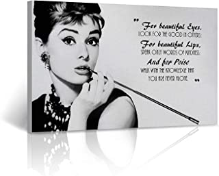 Audrey Hepburn Quote Wall Art Canvas Print Breakfast at Tiffany`s Say Vintage Home Wall Decor Decorative Framed Art Artwork (24x36inch)