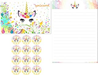 KUDOS.JP Unicorn Cute Kawaii 12 Envelopes 24 Letter Writing Stationery Paper Letter Set for Girls (Unicorn#2)