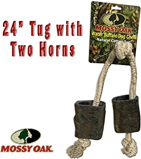 Mossy Oak 24 Inch Water Buffalo Horn and Rope Chew Toy and Tug Toy