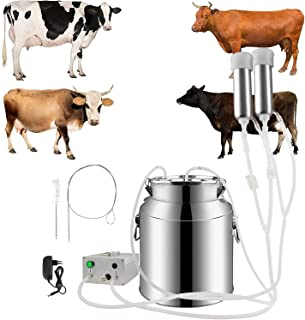 Electric Milking Machine, Vacuum Pulse Pump Stainless Steel Milker 7L Portable Double Heads Milking Device Kit for Sheep C...